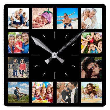 Custom 12 Instagram Family Photo Collage Square Wall Clock - photo gifts cyo photos personalize