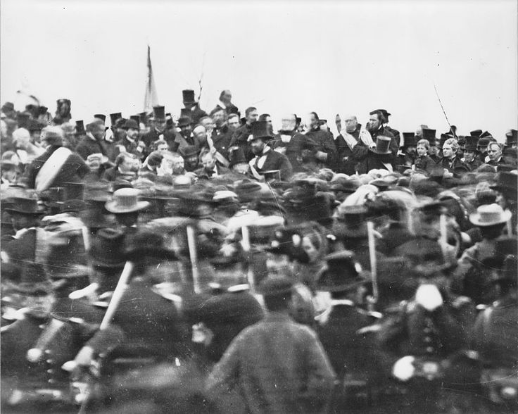 "This is one of only two confirmed pictures of Abraham Lincoln at the Gettysburg Address, one of the most famous events in American history. Lincoln is in the center of the picture, hat off, and the tall man to his right wearing a top hat is his bodyguard. The Gettysburg Address, in 1863, saw Lincoln speak of the Civil War struggle leading to a ""new birth of freedom"" that would bring true equality to all of its citizens."