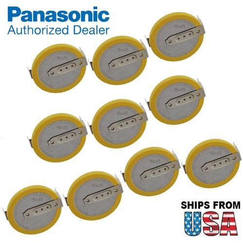 10x Panasonic CR-2032/HF1N 3V Lithium Coin Battery Horz 2 PC Pins System Bios