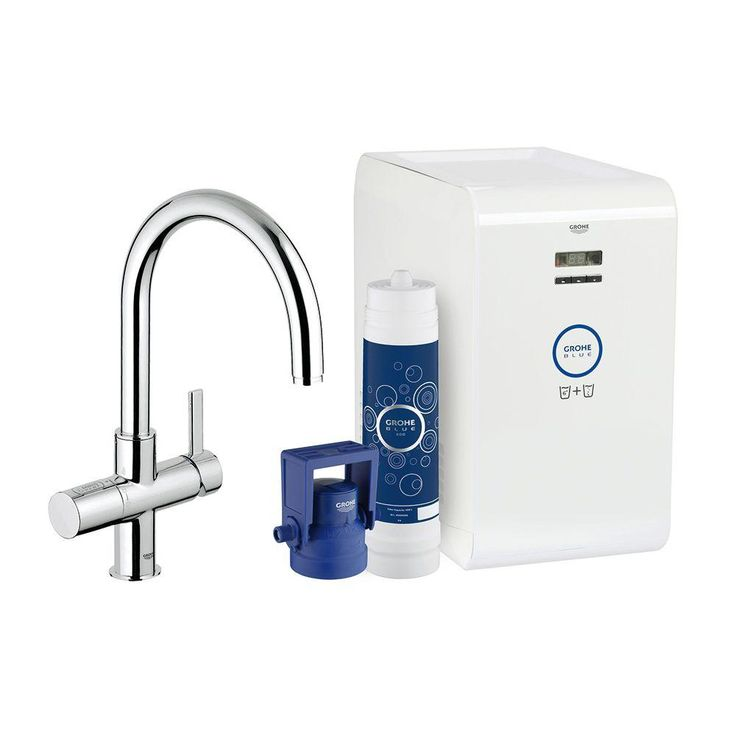 Great GROHE Blue Chilled u Sparkling Handle Standard Kitchen Faucet in StarLight Chrome