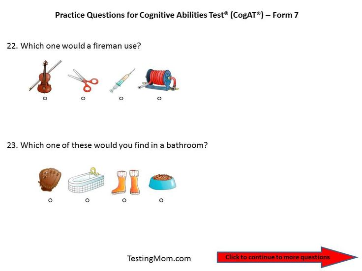 CogAT Form 7 practice question for Pre-K through Kindergarten ...