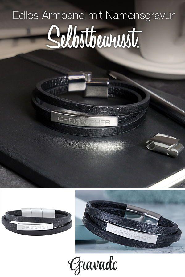 Volumen groß Veröffentlichungsdatum hohe Qualitätsgarantie Herrenarmband mit Gravur - Leder - Armband mit Name | MÄNNER ...