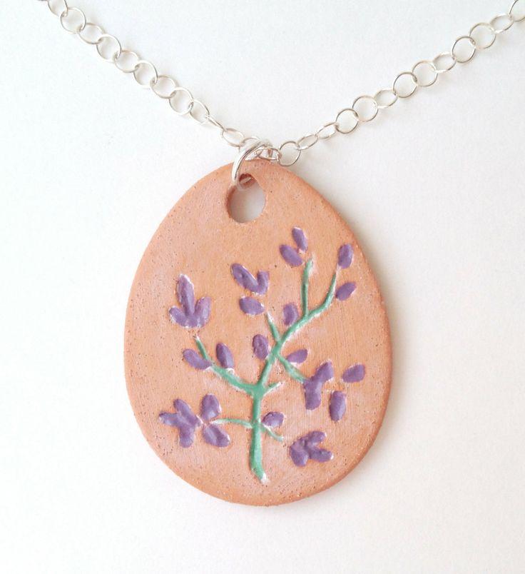Terracotta Neck Pendant Diffuser ~ Essential oil pendant lavender floral fragrance aroma