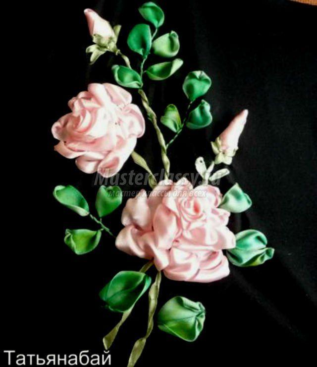 Вышивка розы атласными лентами. Мастер класс с пошаговыми фото