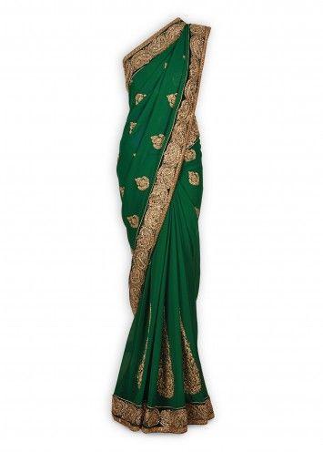 Green Pure Georgette Sari