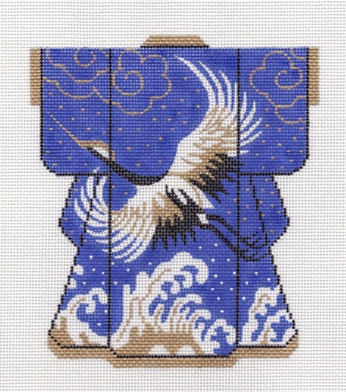 LEE **Exclusive** Kimono Crane on Royal Blue handpainted Needlepoint Canvas 5x6