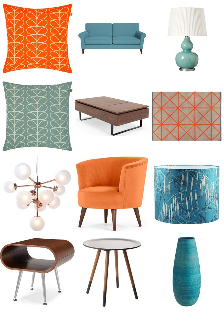 60s Flair Living Room Inspiration Board. Some new retro pieces with a 1960s style influence. Give your interior a fresh look - get ideas at www.furnishful.co.uk, browse items from dozens of well-known furniture and home décor retailers and then save the ones you love!