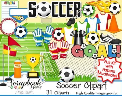 Soccer Clipart, 31 high quality digital images. Instant download, trophy, soccer clipart, goal, uniforms, soccer field, digital scrapbooking, sports clipart, scrapbook kit, digital clipart, high school clipart.