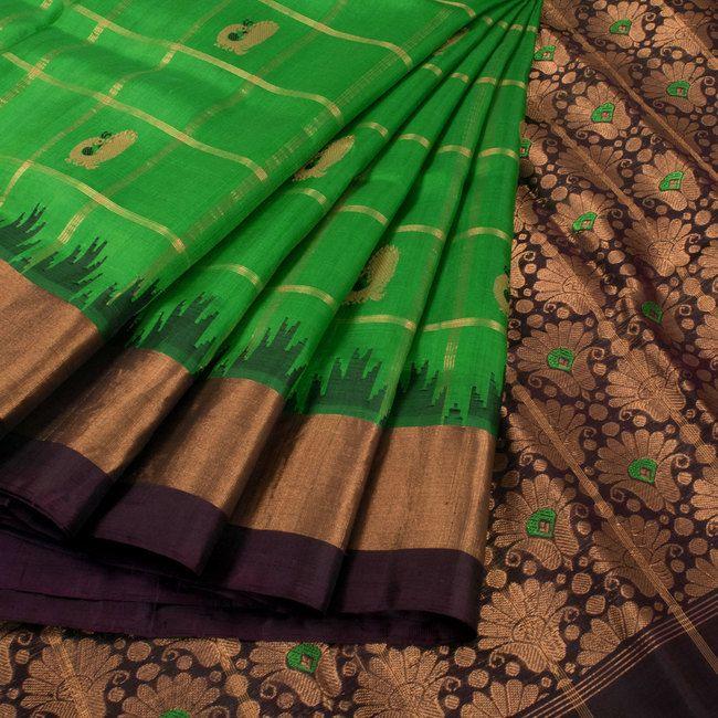 Buy online Handwoven Green Gadwal Kuttu Silk Saree With Peacock Meenakari Motifs, Checks & Temple Border 10015483