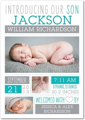 Boy Photo Birth Announcements Welcomed Wonder - Front : Enchanted