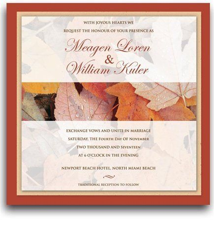 45 Square Wedding Invitations - Autumn Subtle Peace by WeddingPaperMasters.com. $202.50. Now you can have it all! We have created, at incredible prices & outstanding quality, more than 300 gorgeous collections consisting of over 6000 beautiful pieces that are perfectly coordinated together to capture your vision without compromise. No more mixing and matching or having to compromise your look. We can provide you with one piece or an entire collection in a one stop shoppin...