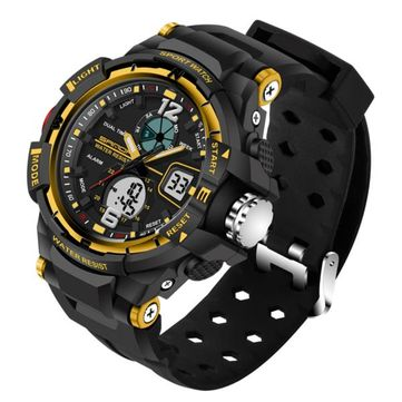 SANDA 289 Fashion LED Dual Display Men Watch 30M Waterproof Sport Digital Watch at Banggood