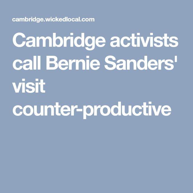 Cambridge activists call Bernie Sanders' visit counter-productive