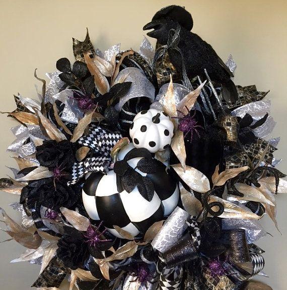 Black Flower And Crow Halloween Wreath: Best 25+ Pumpkin Wreath Ideas On Pinterest