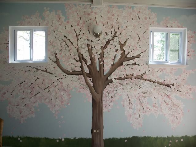 Hand painted wall murals cherry blossom tree emmas room for Cherry blossom tree mural