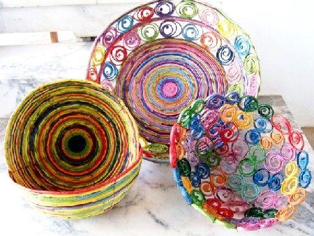 fruteira e bowls de jornal