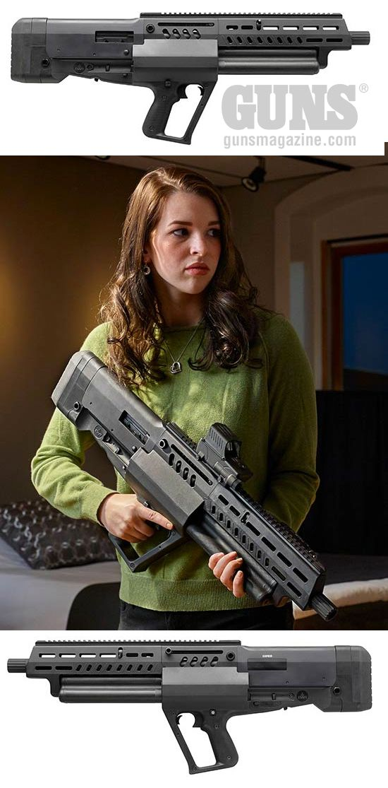 EXCLUSIVE: New Tavor TS12 Tactical Shotgun Is A Semi-Auto Sizzler | By Dave Workman | Having had some experience with Israel Weapon Industries (IWI) Ltd. products, the recent announcement of the Tavor TS12, a bullpup semi-auto 12-gauge shotgun that looks like something out of the future, got my attention. | © GUNS Magazine 2018