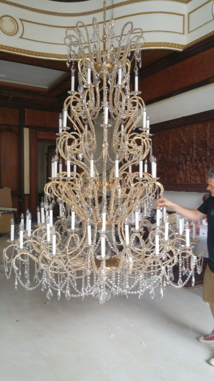 A breathtaking large crystal chandelier for a