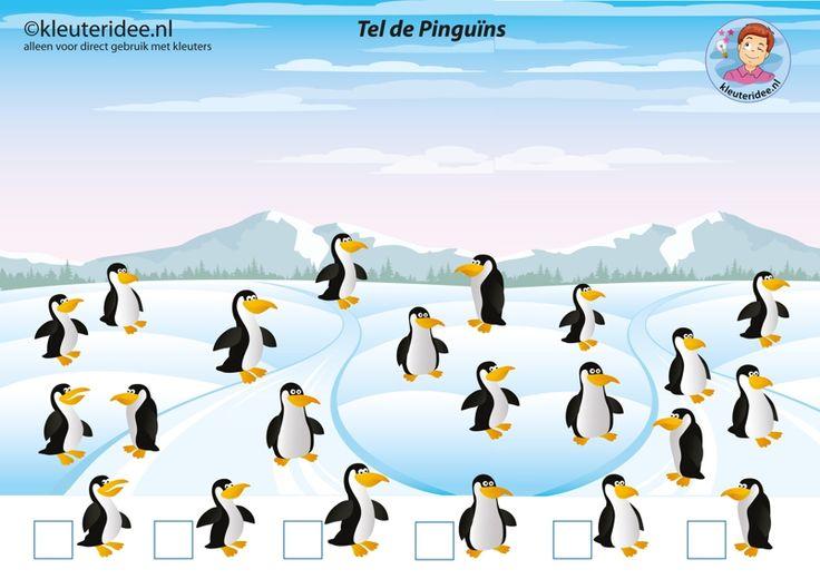 Pinguïns tellen met kleuters, juf Petra van kleuteridee, free printable