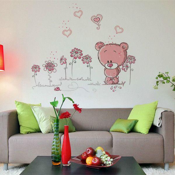 Dibujo animado de la decoración de la pared de color rosa oso chica decoración etiqueta engomada casera sitio del niño