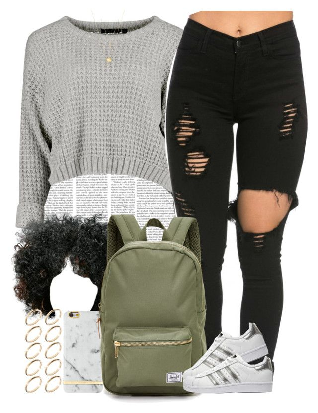 """""""School just started and I already have homework """" by livelifefreelyy ❤ liked on Polyvore featuring Richmond & Finch, Herschel Supply Co., adidas Originals, Joolz by Martha Calvo, Gucci and ASOS"""