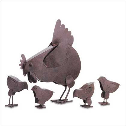 I like the simplicity of this garden statue set! It makes me feel like I should be on a farm, which is nice, because I don't but sometimes I wish I did. Also, can we talk about how cute the little chicks are with their little wings that are barely propped away from their bodies? So darling!