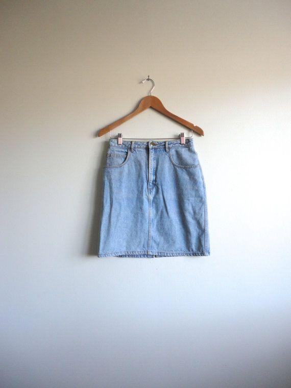 90s Clueless Jean Skirt - Faded Pale Blue High Waisted Jean Skirt -J&J  Denim Mini Skirt