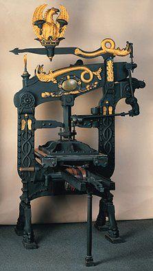"The ultimate printing press, Columbia-Iron-Press, about 1824. Exhibit, ""Art Nouveau & the book art of the 20th Century,"" Gutenberg-Museum Mainz (Art Nouveau & the book art of the 20th Century)."