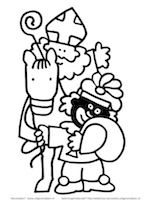 Sint op paard met Zwarte Piet