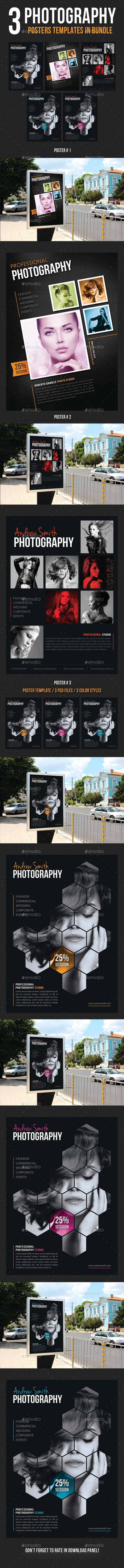 3 High impact Poster Template Layouts, perfect for business advertisement or pro...