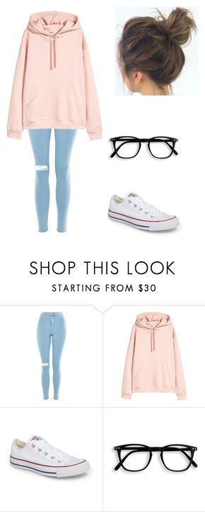 """""""Untitled #80"""" by blossom03 ❤ liked on Polyvore featuring Topshop and Converse"""