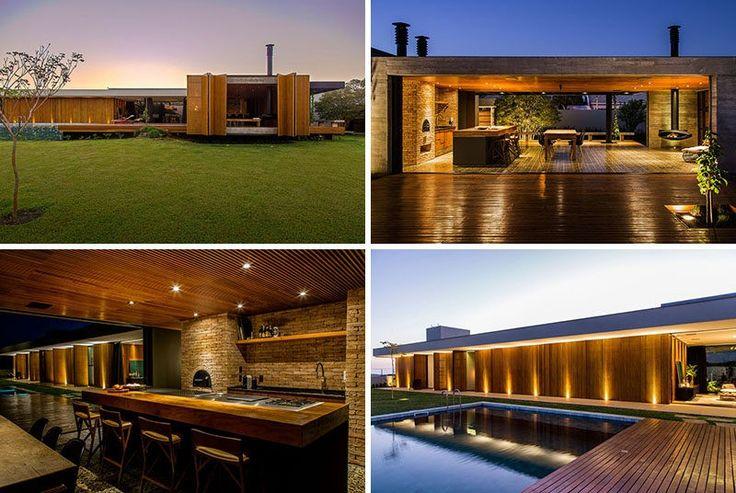 MF + Arquitetos haben dieses Haus in Franca in Brasilien entworfen, die eine Palette aus Holz, Beton, Stein und Corten Stahl verfügt über.