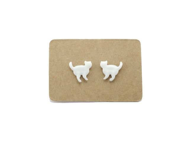 Handmade Ceramic Animal Stud Earrings - White Cats from Lululoft