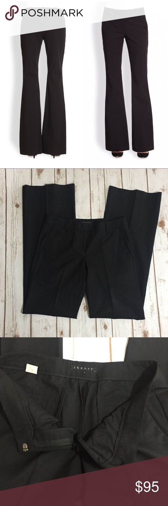 """Theory Flare Shine Slacks Pants Theory black Flare Trousers with a subtle shine to them. Size 4. Made of 96% wool and 4% Lycra. Approximate measurements flat and unstretched: waist 30"""", rise 8"""", and inseam 34"""". Worn once and in like new condition. ⚓️No trades or holds. I accept reasonable offers and only negotiate through the offer button. 🚭🐩HB Theory Pants Trousers"""