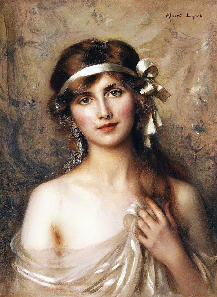 Albert Lynch (Peruvian painter) 1860 - 1950, The White Ribbon, s.d., oil on canvas, 61 x 46 cm. (24 x 18.1 in.), signed 'Albert Lynch' u.r.