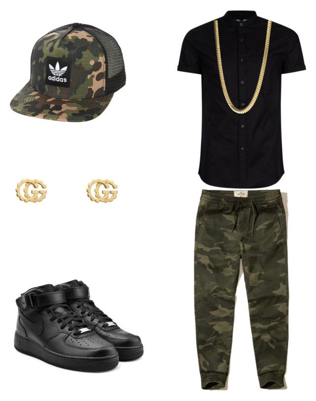 """""""Dope Outfits"""" by sonictheincrediblefox on Polyvore featuring NIKE, Topman, adidas Originals, Hollister Co., Gucci, men's fashion and menswear"""