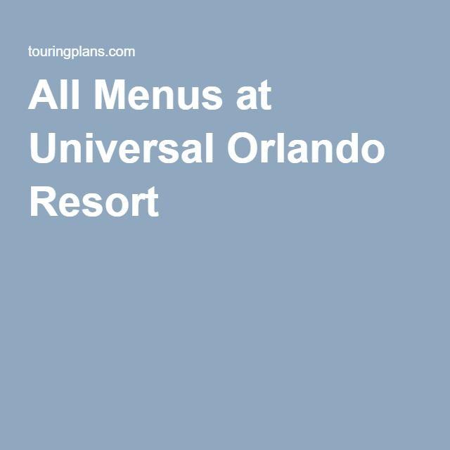All Menus at Universal Orlando Resort
