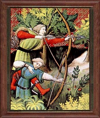 Bow Hunters, Gaston Phoebus, Livre de Chasse 1405 - a treatise on Medieval hunting. Held at the Bibliotheque Nationale de France.