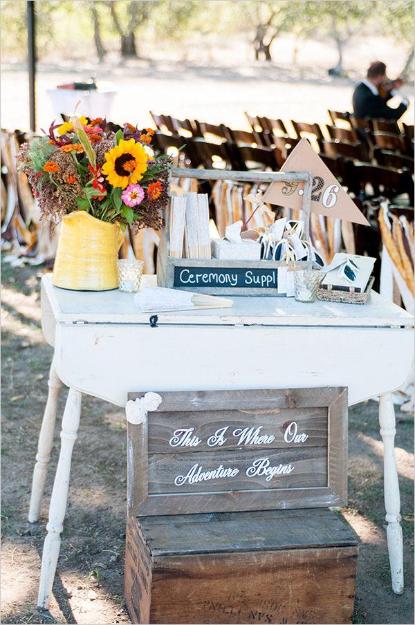 wedding ceremony supplies table idea, such a cute idea!