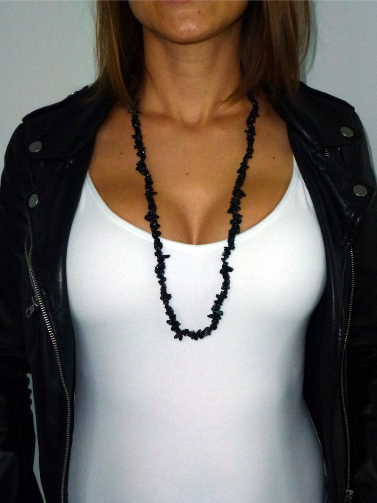 """Natural Black Obsidian Crystal Necklace 32"""" -a powerful protection crystal that protects from negative outside influence on one's energy field - it absorbs the negative vibration - protects from psychic attacks - very strong cleansing crystal of subconscious anger, resentment and fear"""