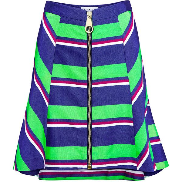 Tanya Taylor - Sarong Stripe Molly Mini Skirt ($128) ❤ liked on Polyvore featuring skirts, mini skirts, short denim skirts, short mini skirts, high waisted mini skirt, flared mini skirt and denim miniskirts