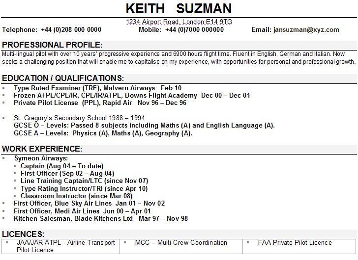 Airline pilot CV sample