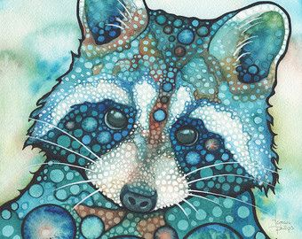 Waschbär 8.5 x 11 Druck entzückende Aquarell Gra…
