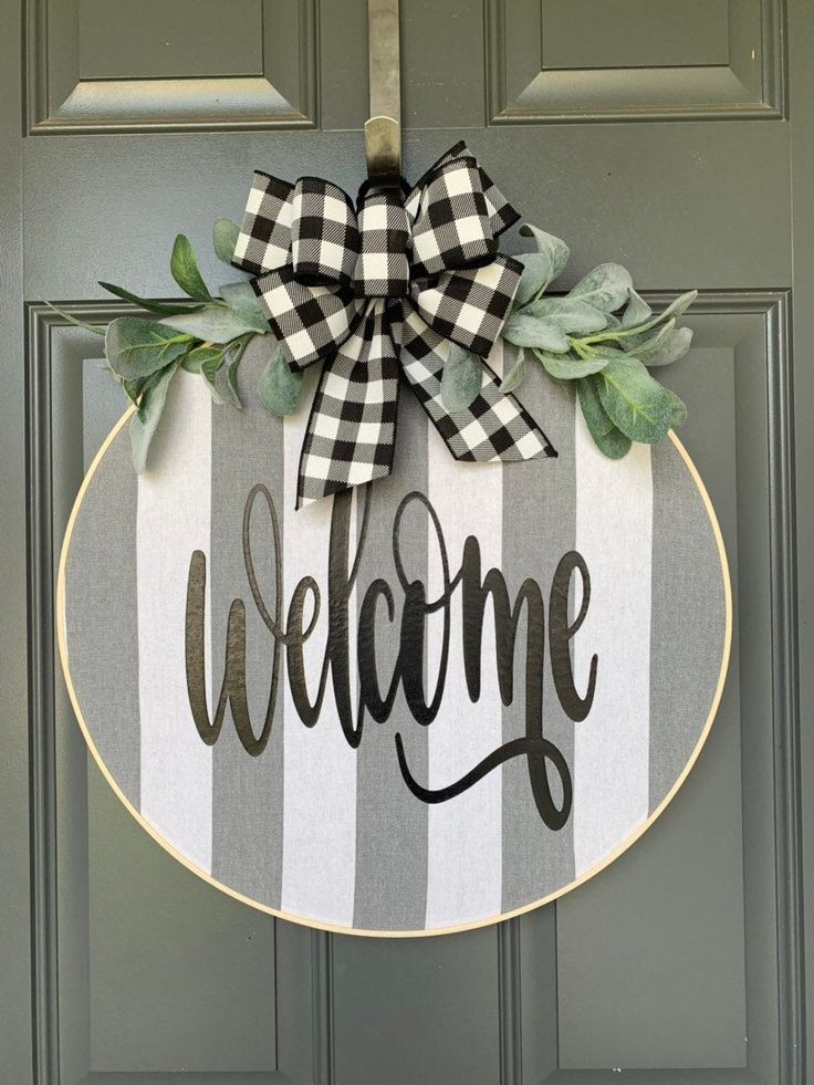 Extra Large Wreaths for front door, Fall Wreaths, Fall Wreaths for Front Door, Hoop Wreath, Wreath for Front Door, Spring, Buffalo Check
