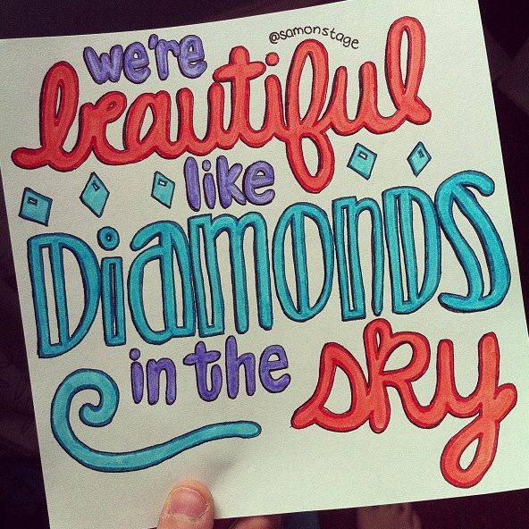 Diamonds Lyric Drawing by samonstage on Etsy