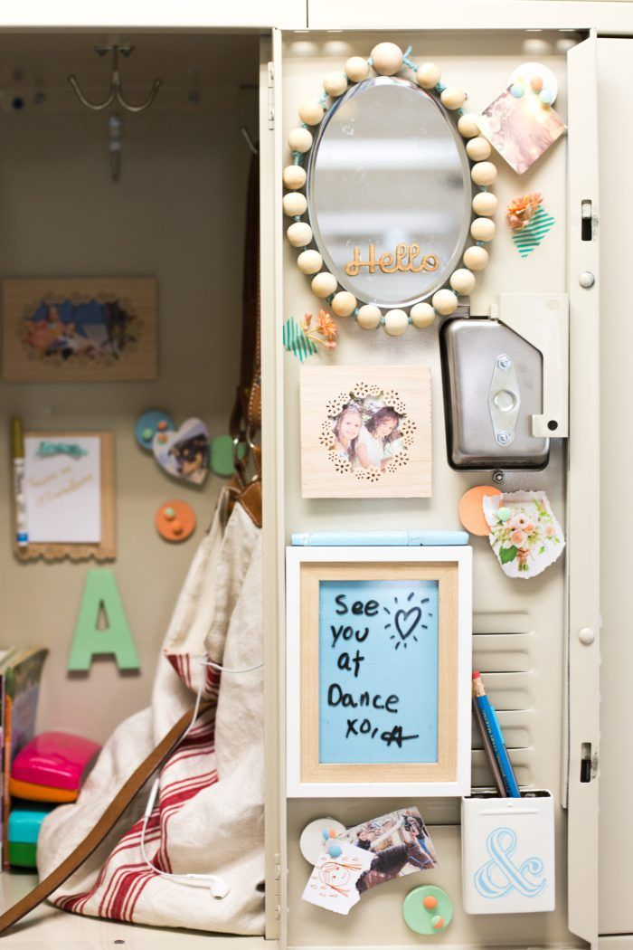 DIY Locker Decorations: Mirror +Bulletin Board