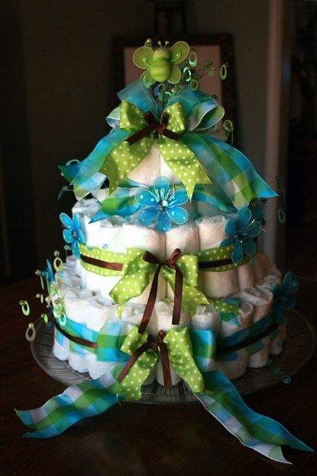 Diaper Cake Baby Shower Centerpiece but in pink, green and brown