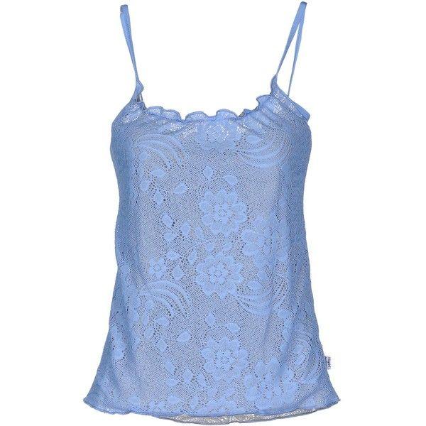 Blugirl Blumarine Beachwear Top (40 PAB) ❤ liked on Polyvore featuring tops, sky blue, lace top, blue sleeveless top, lacy tops, blue lace top and lace sleeveless top