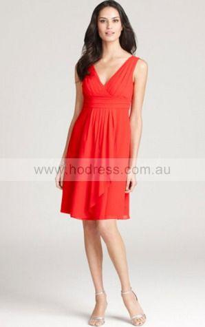 Chiffon V-neck Empire A-line Short Bridesmaid Dresses 0740453--Hodress