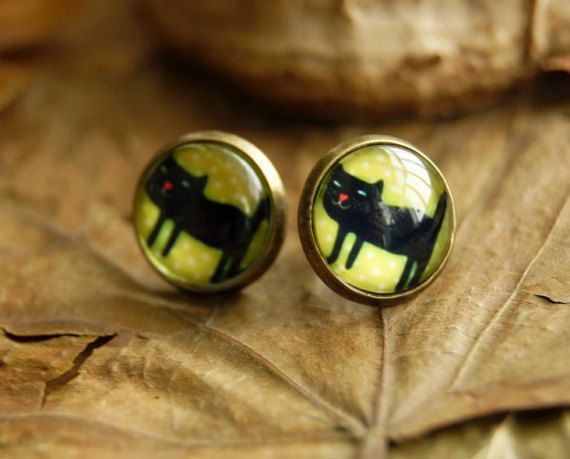 Black cats 12 mm Glass dome stud earrings cat by InviolaJewerly